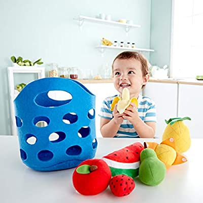 Hape Toddler Fruit Basket |Soft Pretend Food Playset for Kids, Fruit Toy Basket Includes Banana, Apple, Pineapple, Orange and More: Toys & Games