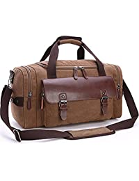 Canvas Duffel Bag, Aidonger Vintage Canvas Weekender Bag Travel Bag Sports Duffel with Shoulder Strap