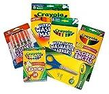Basic Crayola School Supply Kit - Back to School 6 Items (Washable Crayola Markers Bundle)