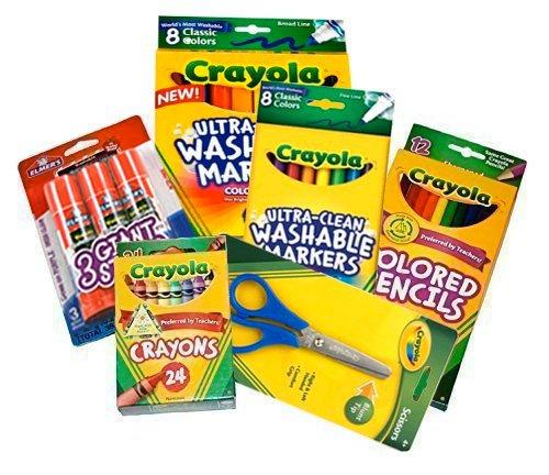 - Basic Crayola School Supply Kit - Back to School 6 Items (Washable Crayola Markers Bundle)