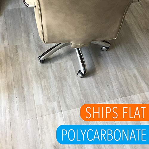 48in Box (Polycarbonate Office Chair Mat for Hardwood Floor, Floor Mat for Office Chair(rolling chairs)-Desk Mat&Office Mat for Hardwood Floor-Sturdy&Durable, Immediately Flat Out of the Box:40