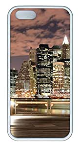 Brian114 iPhone 5S Case - City New York 19 Back Case Cover for iPhone 5 5S Soft Rubber White Cases