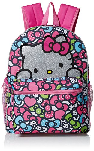 Hello Kitty Girls' Glitter 16 Inch Backpack, Pink]()