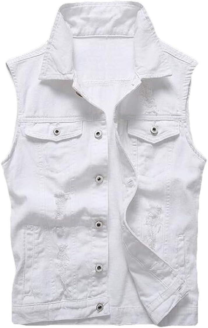 SELX Men Solid Sleeveless Slim Fit Denim Button Front Casual Vest