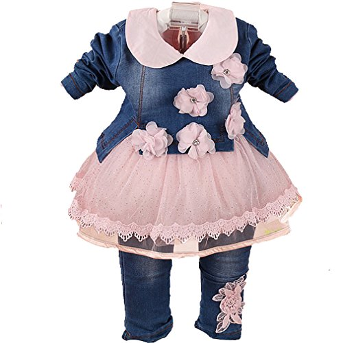 YYA Baby Girls 3 Pieces Clothing Sets Denim Jacket Shirt and Jeans (6-12m, Pink) ()