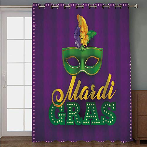 iPrint Blackout Patio Door Curtain,Mardi Gras,Green Mask with Colorful Feathers on Purple Backdrop Styled Calligraphy Decorative,Purple Green Yellow,for Sliding & Patio Doors, 102