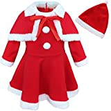 Freebily Baby Toddler Girls Christmas Outfits Santa Claus Dress Fancy Costume with Shawl Hat Set