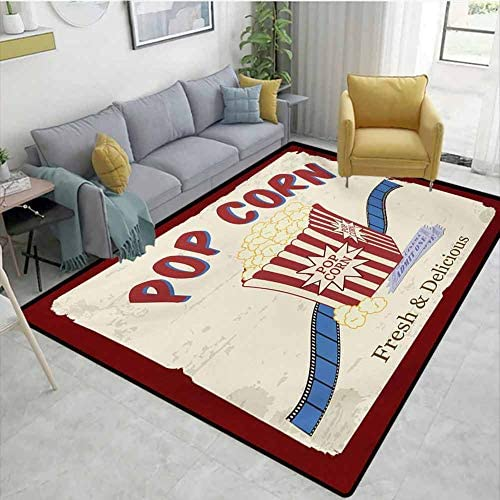 Movie Theater Area Rug Large Rug Mat Fresh and Delicious Pop Corn Film Tickets and Strip Advertising