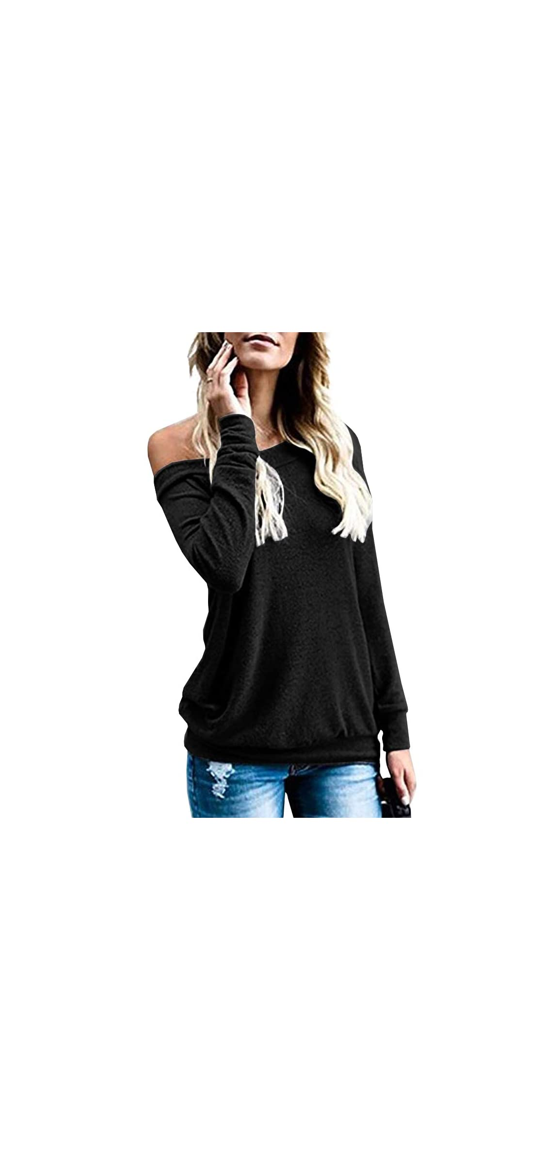Womens Off Shoulder Tops Long Sleeve Boat Neck Casual
