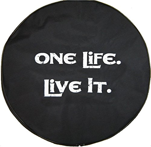 SpareCover BR-one-life-37 Brawny Series Black Denim 37' Tire Cover with One Life Design