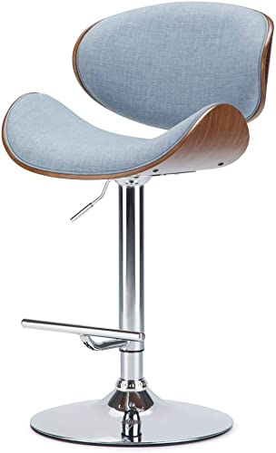 Simpli Home AXCMARN-DMB Marana Mid Century Modern Bentwood Adjustable Height Gas Lift Bar Stool in Denim Blue Linen Look Fabric