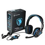 Gaming Headset Sades Sa708 Stereo Blue Gaming Headphone with Microphone for Pc Computer * With Retail Gift Box