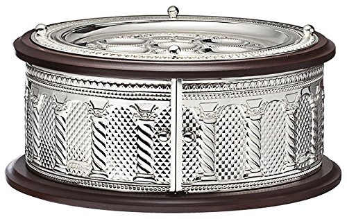 A&M Judaica 61013 Wood & Silver Plated 3 Tier Seder Plate