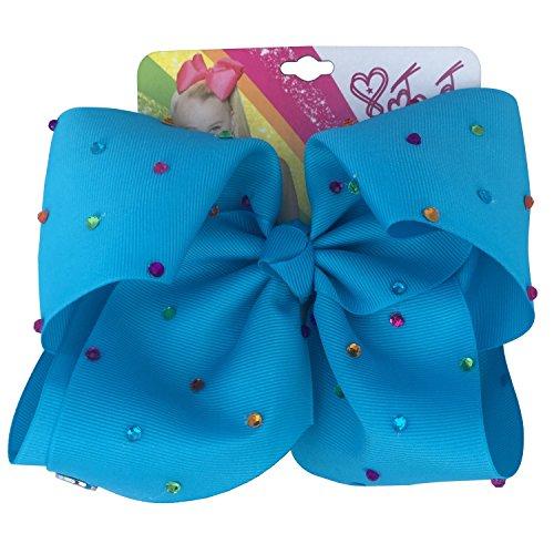 JoJo Siwa Large Signature Bow - Blue Rhinestone JoJo Bow - Blue Diamante Jo Jo Bow