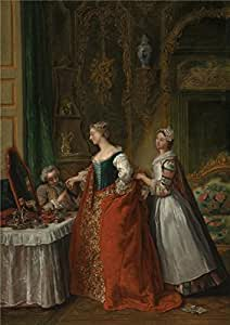 Jean Francois De Troy,A Lady Showing A Bracelet Miniature To Her Suitor,about 1734 , 10x14inch / 25x36cm , Cotton Canvas ,this Reproductions Art Prints Is Perfectly Suitalbe For Study Decoration And Home Decoration