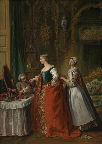 [Oil Painting 'Jean Francois De Troy,A Lady Showing A Bracelet Miniature To Her Suitor,about 1734' Printing On High Quality Polyster Canvas , 8x11 Inch / 20x29 Cm ,the Best Gym Decor And Home Decor And Gifts Is This Beautiful Art Decorative Canvas Prints] (Tech All Star Logo Watch)