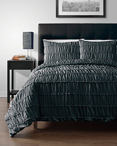 Polyester Victorian Quilt - Cozy Beddings Ruched Pinch Pleat Ruffled Designer Embellished Comforter Set, Twin Size, 2-Piece, Charcoal Grey