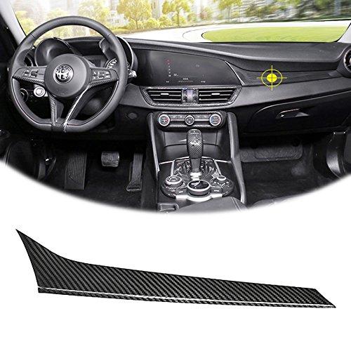 Fiber Carbon Dash Panels (Real Carbon Fiber Car Interior Dashboard Console Center Panel Cover Trim for 17+ Alfa Romeo Giulia)