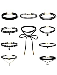 Choker Necklace, Mostsola 10 Pieces/Set Charming Stretch Velvet Classic Gothic Tattoo Lace Choker