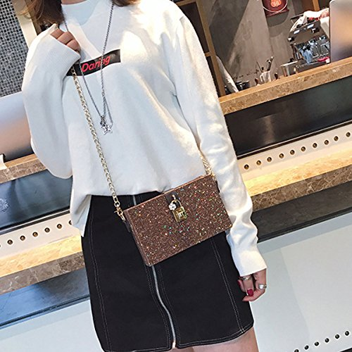 Handbags with for Women Clutch Sequins Star Strap from Shoulder Brown Mily Chain Pattern Fashion Bag Box vBwaE
