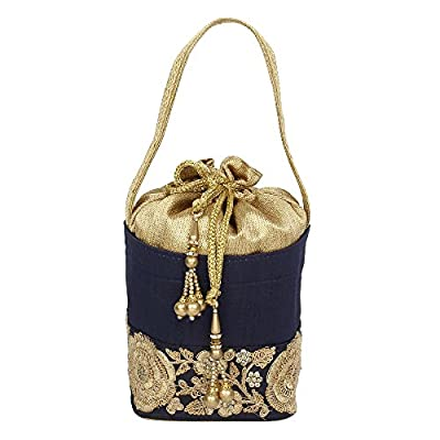 { Extra 10% Discount } Purse Collection Fabulous Drawstring Blue Colour Potlli With Embroidery Work Purse For Women0