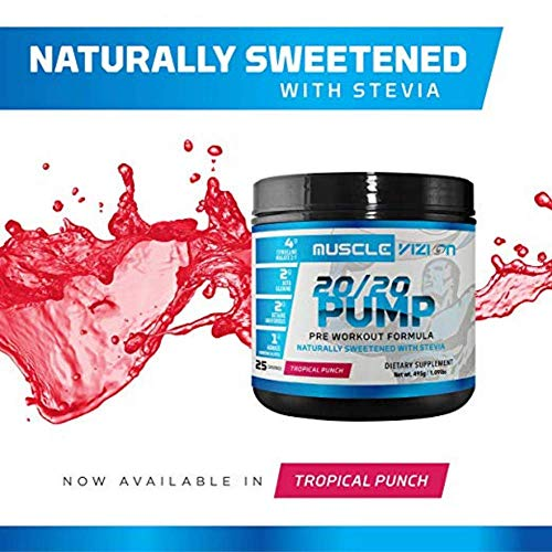 Muscle Vizion 20 20 Pump Pre Workout Pump Enhanced Formula with Citrulline Malate Agmatine Sulfate Natural Caffeine to Enhance Pump Energy Focus Endurance Naturally Sweetened with Stevia.