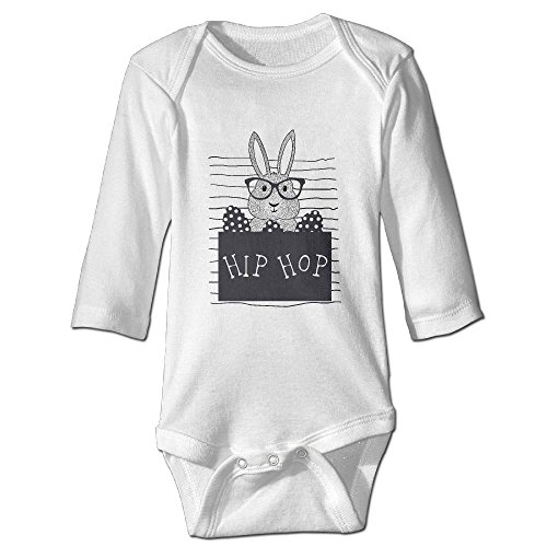 IERGW Hip Hop Easter Bunny colorful Easter Egg Baby Onesie Cotton 100% Long Sleeves Outfits For Kids Boys Girls