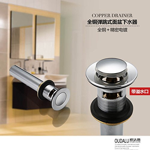 on sale AZOS Bathroom Sink Drainer Brass Push Down Pop-up Chrome Polished Overflow Hole Basin Parts PJXSQ003C-Y