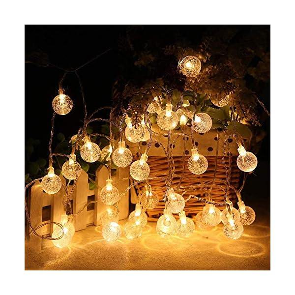 Ibello Catena luminosa Solare Stringa di Luci 6 Metri 30 Palline LED Impermeabile Energia Solare Bulbo Luminoso Luce Bianca Calda 8 Modalità Decorativa da Festa Giardino Gazebo (Bianco Caldo) 2 spesavip