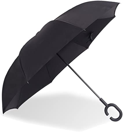 UV Protection For Men and Women with Straight Double Layer Inside Out Folding Umbrella Big Straight Umbrella for Car Rain Outdoor with C-Shaped Handle