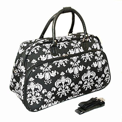 - World Traveler 21-Inch Carry-On Shoulder Tote Duffel Bag, Black White Damask II, One Size