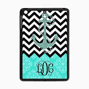 Black White Chevron & Anchor & Turquoise Vintage European Pattern Black Initials Personalized Custom iPad MINI Best Rubber & Plastic Case by ruishername
