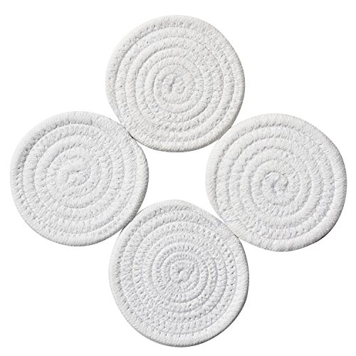 (Coasters Set (4 Pack) - Pure Cotton Thread Weave Round Drink Hot Pads Mats Coasters Set by 4.3 Inches Protect Furniture From Excess Condensation & Scratch (White))
