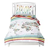 Twin World Map Reversible Duvet Cover Set with 1 Pillowcase for Kids Bedding - Double Brushed Microfiber Does Not Shrink or Wrinkle by Where The Polka Dots Roam (68'' L x 86'' W) (68'' L X 86'' W)