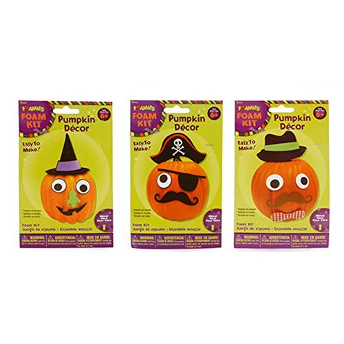 Foamies Foam Halloween Pumpkin Decoration Kits (Bundle of 3) - Decorates 3 Pumpkins - Witch, Pirate and (Decorating Halloween Pumpkins Without Carving)