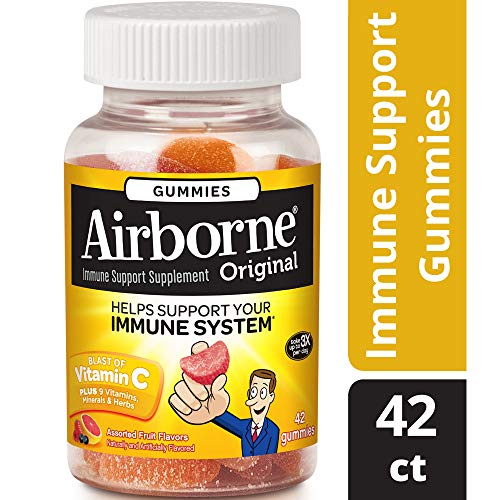Airborne Vitamin C 1000mg Immune Support Supplement, Gummies, Assorted Fruit Flavor, 42 Count