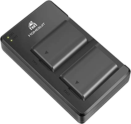A55 A7RII A7S2 A6500 A5100 A7S A7SII Homesuit 2-Pack NP-FW50 Batteries and USB Dual Charger for Sony A6000 Micro USB Port, 1300mAh RX10 Accessories A7R A6300 A7II A7R2 A7