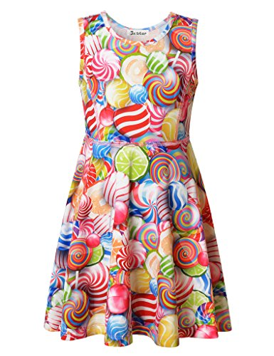 Jxstar Big Girl's Dress Lollipop Print for Skater Rainbow Candy Sleeveless Dress Lollipop 150]()