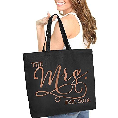 The Mrs. EST. 2018 Rose Gold Bride Black Tote Bag - Bridal Shower Bachelorette Gift - Black Tote(Mrs 2018 RG) BLK