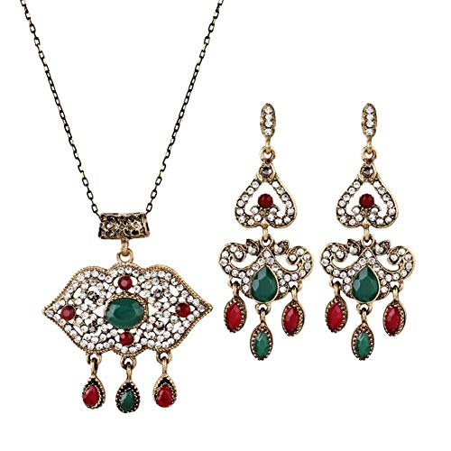 V-Moni New Hot-Selling High-End Ethnic Style Fashion Alloy Bohemian Fringed Red Lip Necklace Earrings Set Green ()