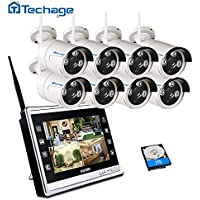 Techage Wireless Home Security Camera CCTV System 960P with 11 LCD Monitor 8 Channel 1.3MP Screen Wifi CCTV Surveillance Kit With 2tb Hard Drive