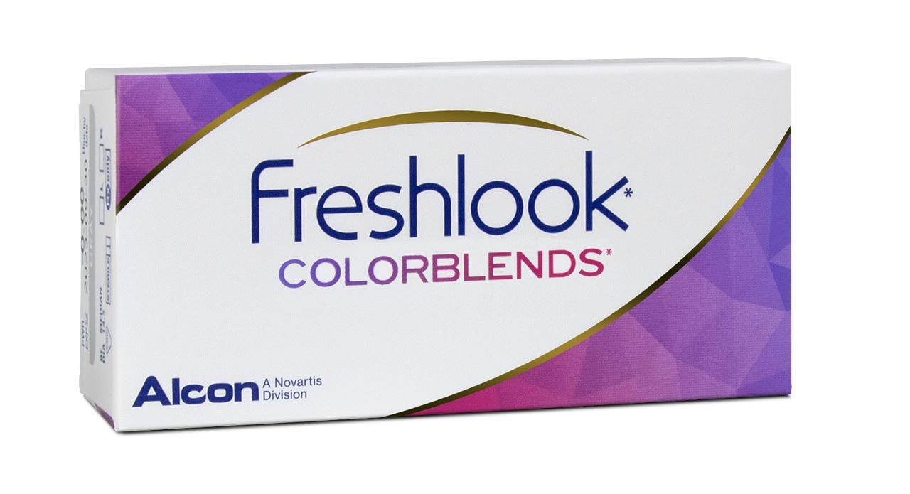 Freshlook Colorblends - Lentes de contacto de color neutras mensuales (R 8.6 / D 14.5 / 0 Diop. / Color Azul Brillante), Pack de 2 uds.
