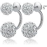 Luxury Lady 925 Sterling Silver Zircon Crystal Ball Ear Studs Earrings Jewelry (12mm)