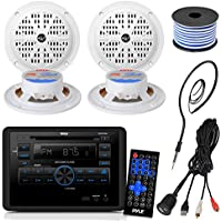 Pyle PLRVST300 RV Wall Mount Bluetooth CD/DVD Receiver Bundle Combo With 4x 4 Inch Dual Cone Waterproof Stereo Speakers + Enrock Radio Antenna + USB/AUX To RCA Cable +18G 50-FT Wire