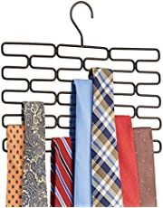 mDesign Metal Closet Over Rod Hanging Clothing and Accessory Organizer for Scarves, Wraps, Tights, Ties - Snag Free Design - 23 Sections, Modern Geometric Wire Design - Bronze
