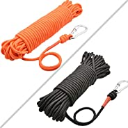 HomTop Magnet Fishing Rope with Carabiner - All Purpose Nylon High Strengte Cord Rope - 65 Feet - Diameter 6mm