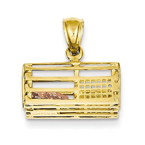 - 14k Two-Tone Polished 3-Dimensional Lobster Trap Pendant
