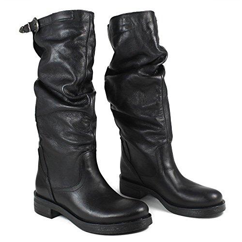in Italy Stivali Nero Arricciati Donna Pelle In Biker Boots Nero Made Time 0285 Vera Alti in U6Oxqpaxw