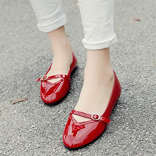 flat dance shoes EU pregnant leather Patent casual round women comfortable 39 shoes FLYRCX single shoes shoes fashion w4tHq