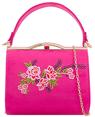 Ladies Leather Box Patent Handle Evening Handbag Rigid Clutch Rose Bag r57raq4xnI